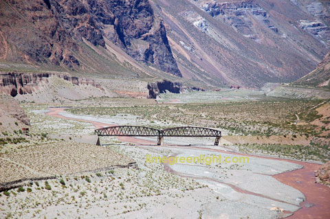 former railway bridge in the Andes crossing from Mendoza Argentina to Chile