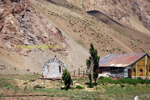 Rustic tourist office high in the Andes in Argentina