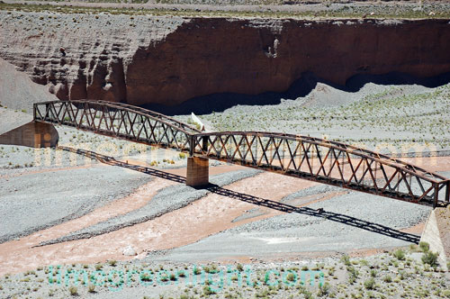 Old Railway Bridge on the track from Argentina to Chile across the Andes